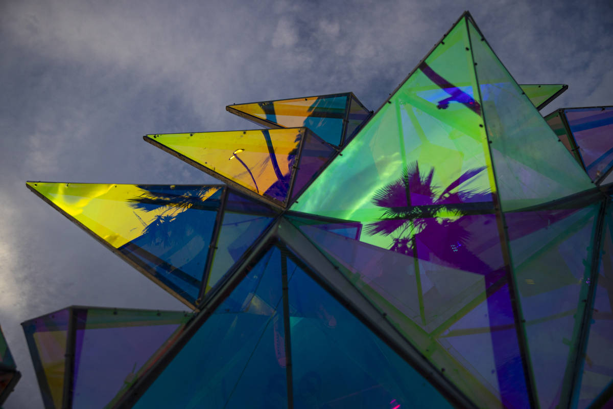 "Reflections in the sculpture ""Pulse Portal"" by Davis McCarty at Area 15's Art Island ..."