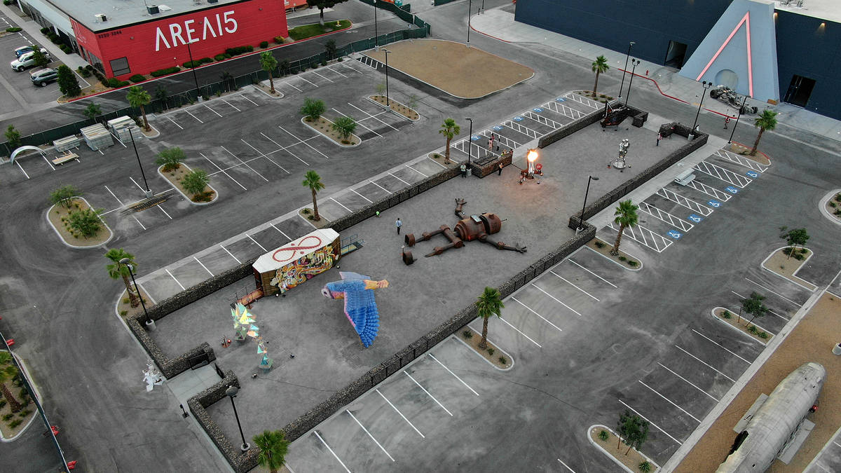 Aerial view of Art Island, a permanent, open-air gallery for the exhibition of large-scale, com ...