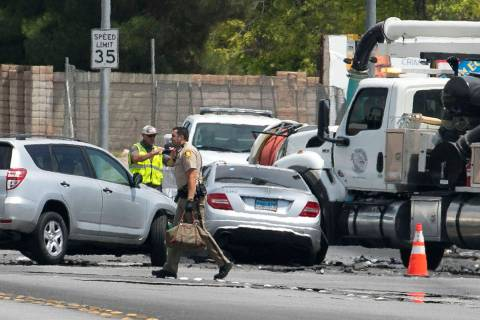 The Metropolitan Police Department is investigating a three-car crash at Oakey Boulevard and R ...
