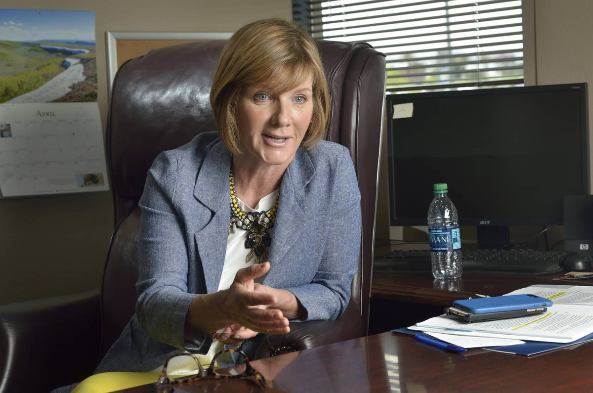 This April 19, 2019, file photo shows Rep. Susie Lee, D-Nev., during an interview in her office ...