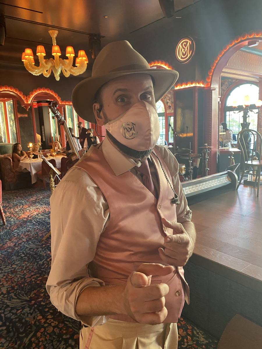 Mayfair Supper Club bandleader Jean-Francois Thibeault is shown in his club-branded mask on Thu ...