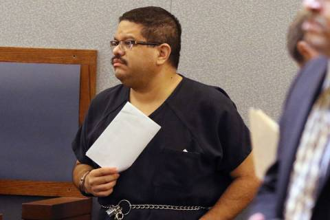 Bramwell Retana, 44, appears in court at the Regional Justice Center on Tuesday, Jan. 21, 2020, ...