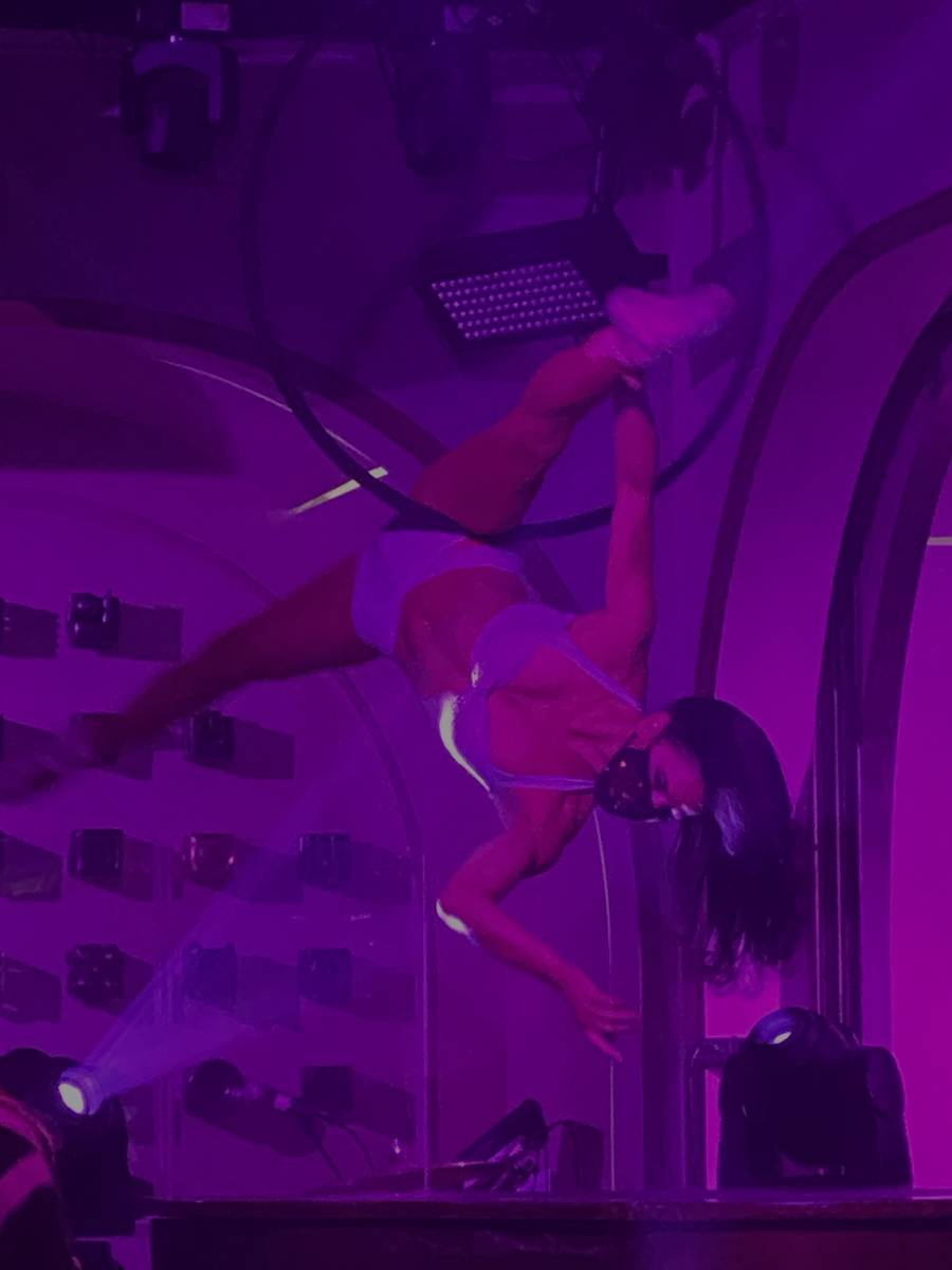 Masked aerialist Jessica Delgado shown at Rose. Rabbit. Lie. at the Cosmopolitan of Las Vegas o ...