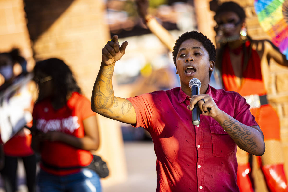 State Sen. Dallas Harris speaks before a silent solidarity march in support of Black Lives Matt ...