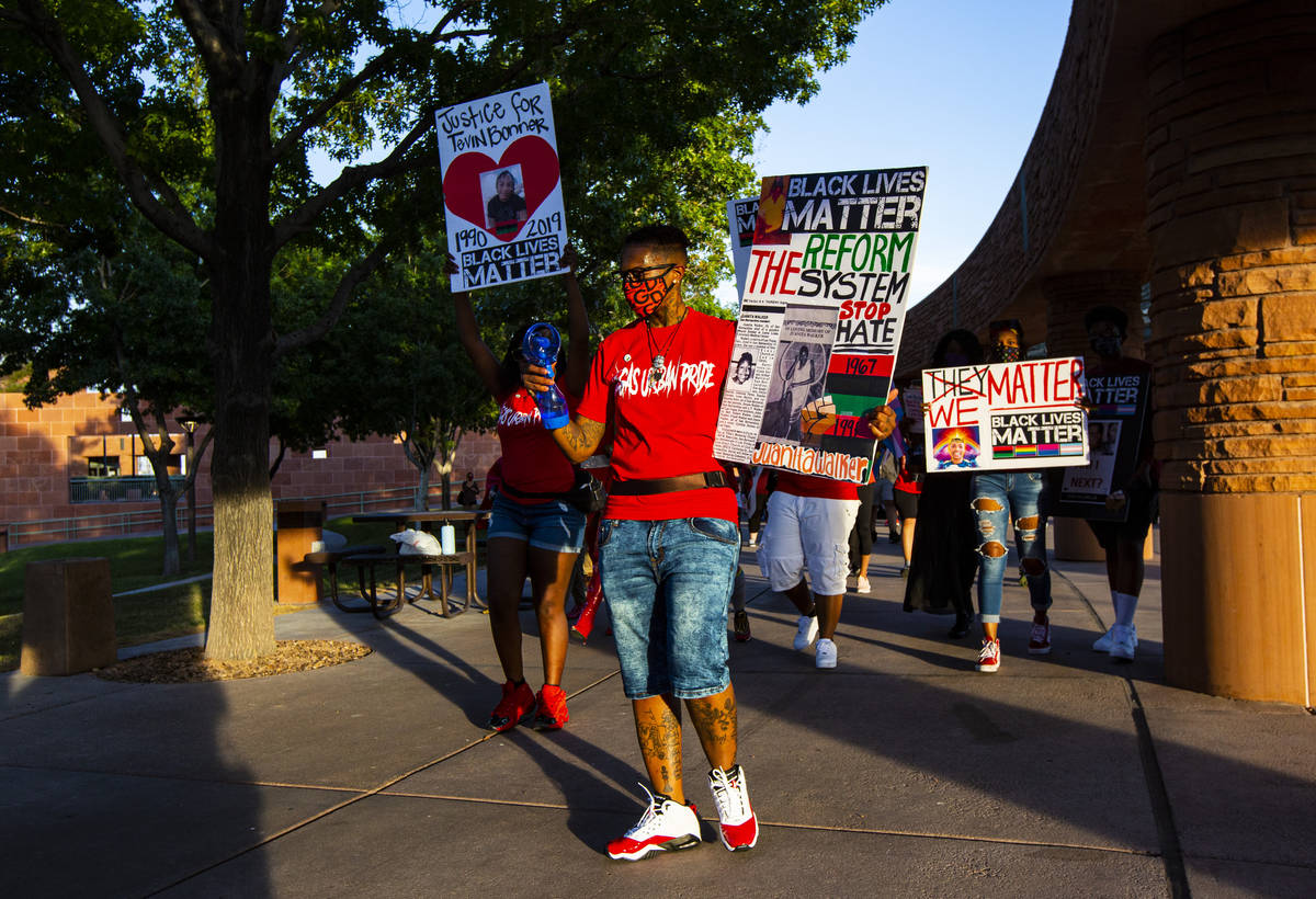 Johanna Perez, founder of Vegas Urban Pride, leads a silent solidarity march in support of Blac ...
