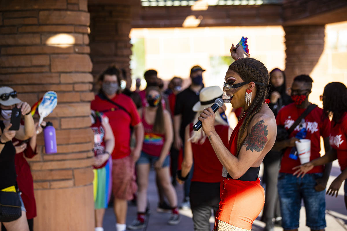 Charles Zappedin, who also goes by Reecez Sexton, speaks before a silent solidarity march in su ...