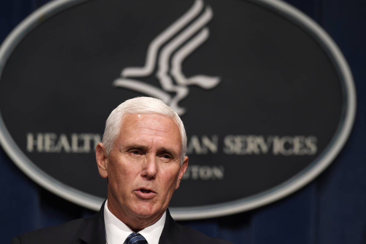 Vice President Mike Pence speaks during a news conference with the Coronavirus task force at th ...