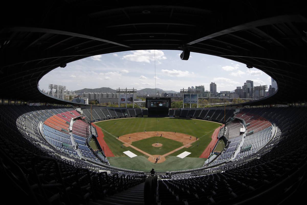Korean Baseball Organization stadium is shown in Seoul, South Korea, on Tuesday, April 21, 2020 ...