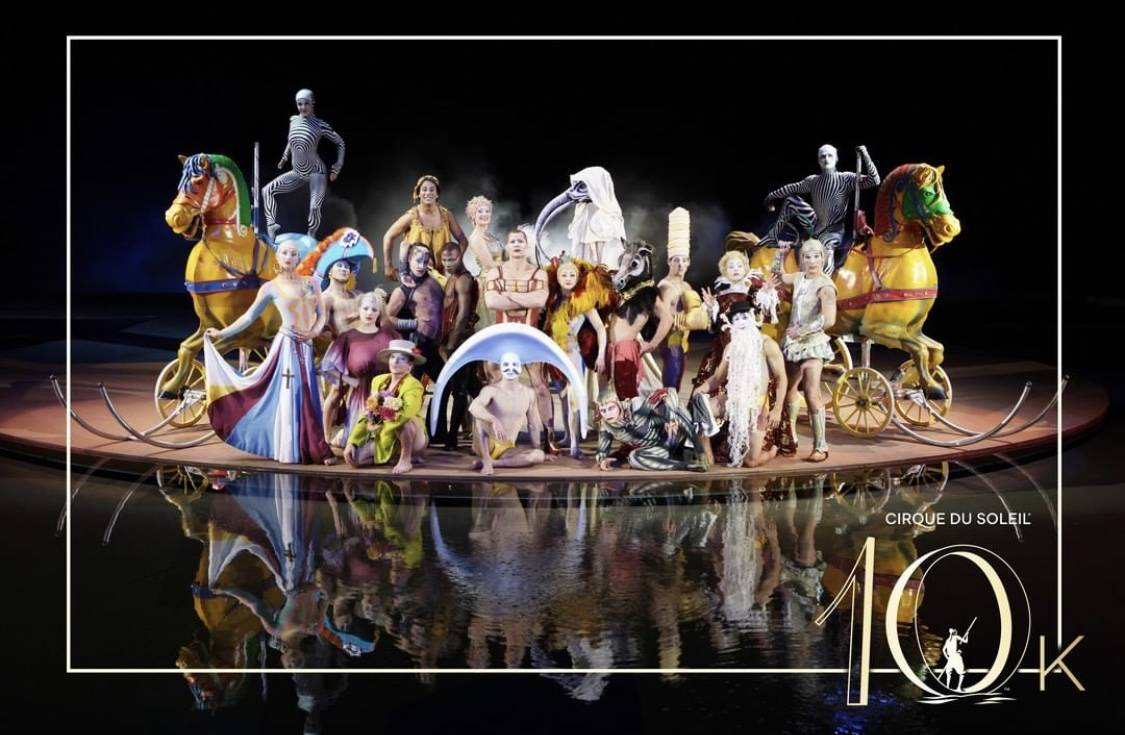 """The cast of """"O"""" celebrated its 10,000th performance at Bellagio on Sept. 1, 2019. (Cirque du So ..."""