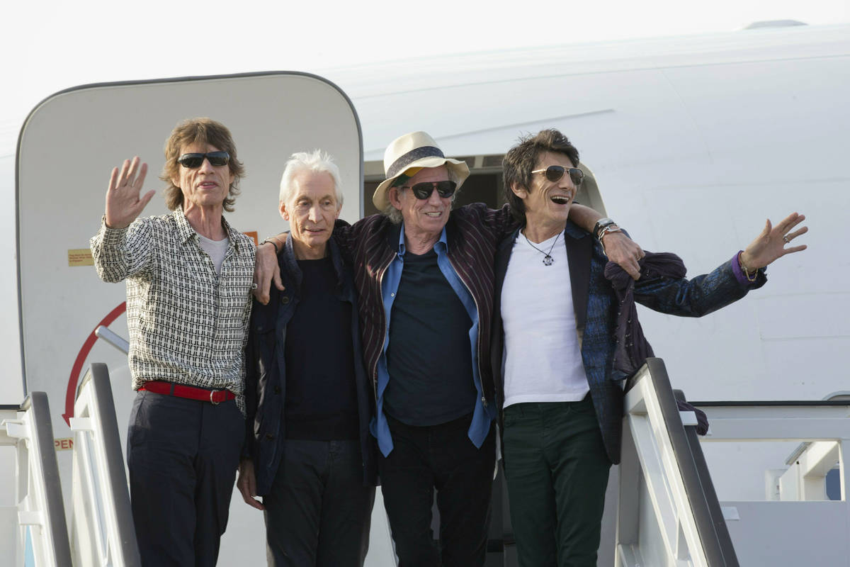FILE - In this March 24, 2016 file photo, members of The Rolling Stones, from left, Mick Jagger ...