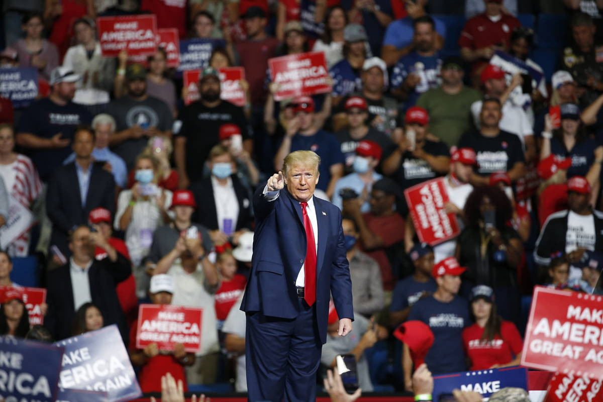 FILE - In this June 20, 2020, file photo, President Donald Trump speaks during a campaign rally ...