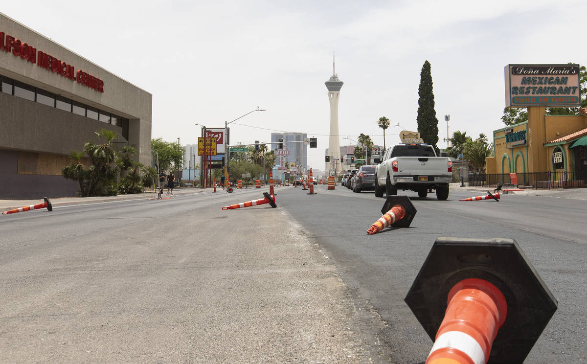 Traffic cones are knocked down by windy weather on Las Vegas Boulevard on Sunday, June 28, 2020 ...