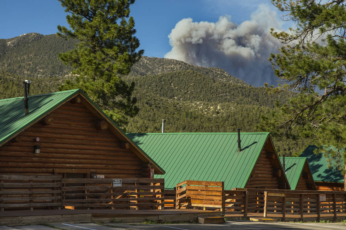 The Mahogany Fire on Mount Charleston grows as winds remain high as seen from the Mount Charles ...