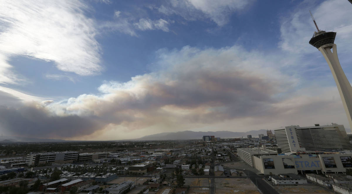 Smoke is seen near The Strat on Sunday, June 28, 2020, in Las Vegas, after a fire broke out on ...