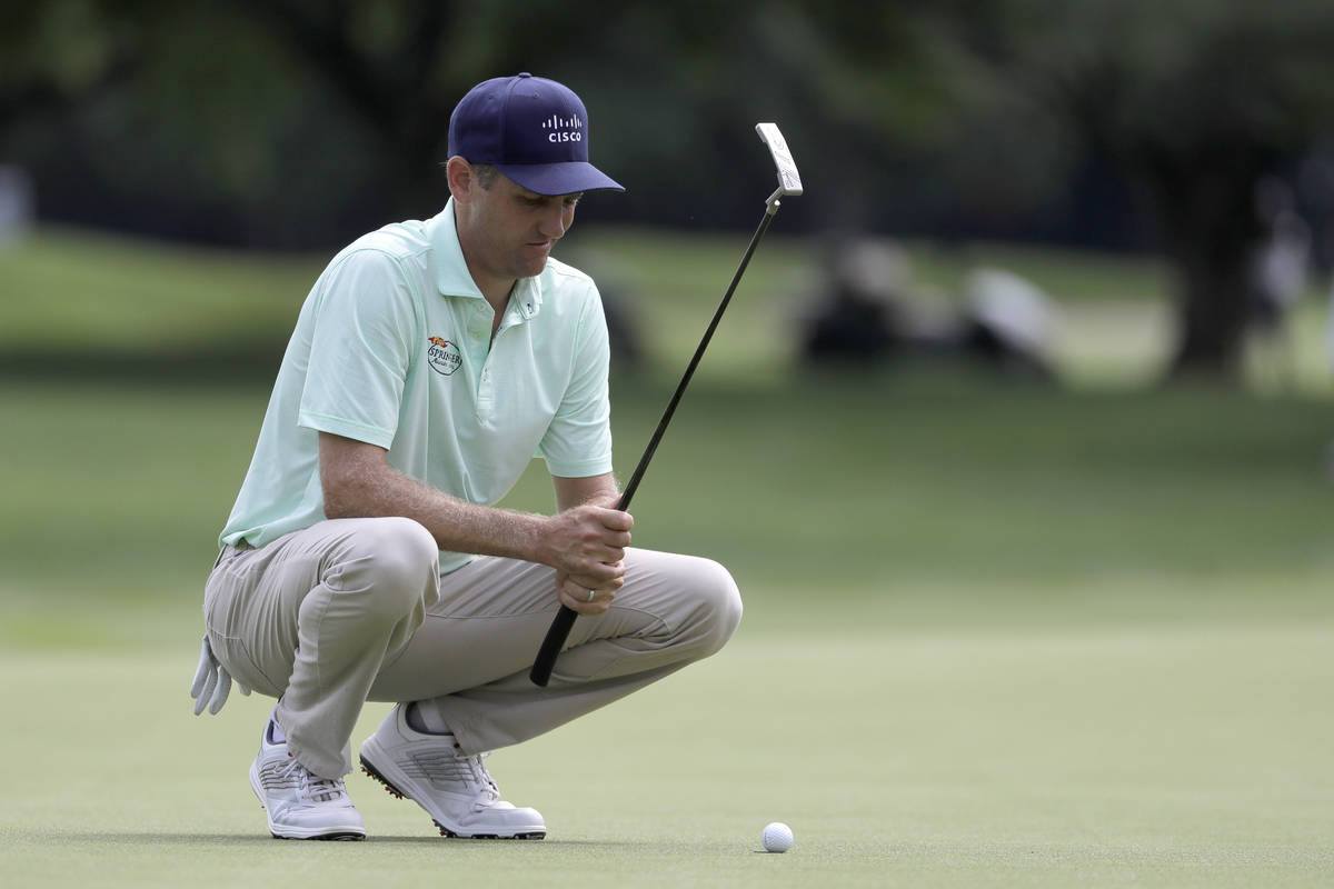 Brendon Todd lines up his shot on the fifth green during the final round of the Travelers Champ ...