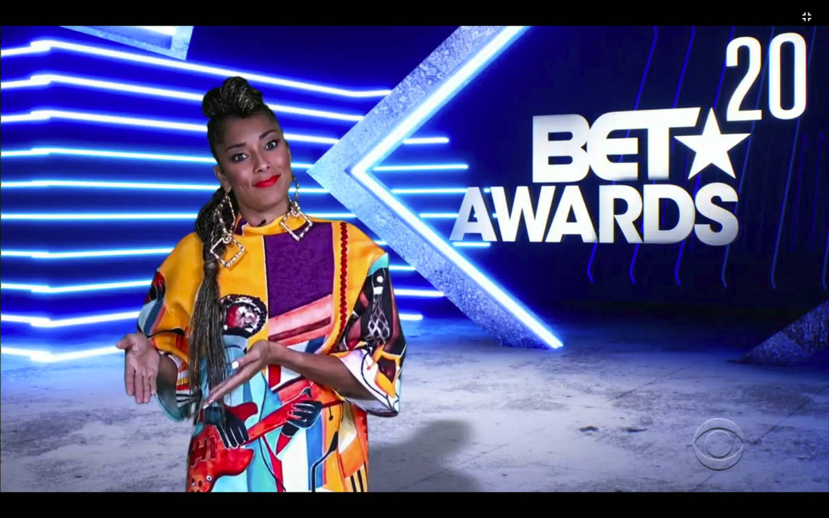In this video grab issued Sunday, June 28, 2020, by BET, host Amanda Seales speaks during the B ...