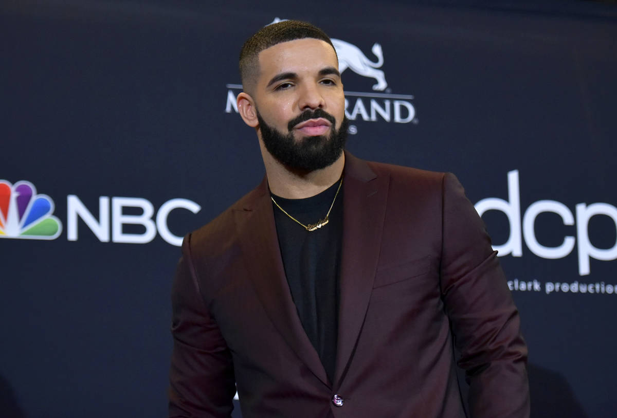FILE - This May 1, 2019 file photo shows Drake at the Billboard Music Awards in Las Vegas. Dra ...