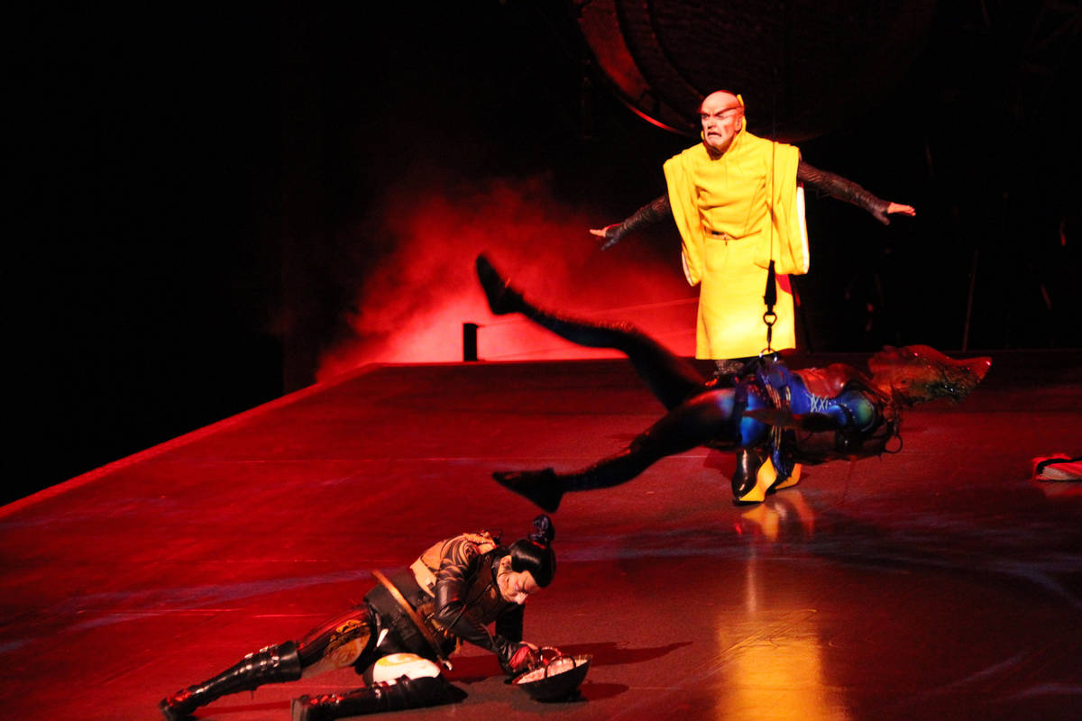 """Performers with Cirque du Soleil show """"Ka"""" perform the battle scene during a media ev ..."""