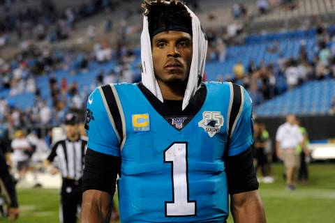 In this Sept. 13, 2019, file photo, Carolina Panthers quarterback Cam Newton (1) walks off the ...