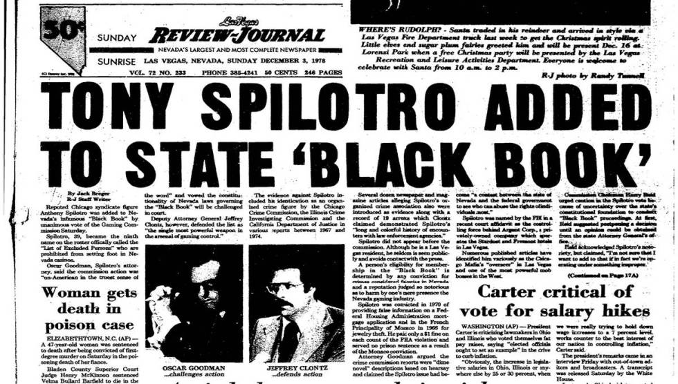The Review-Journal's front page on Dec. 3, 1978, includes an article by Jack Breger about Ant ...