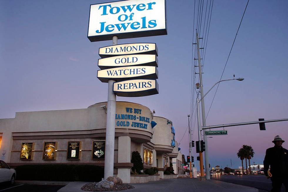 A man walks past the Tower of Jewels jewelry store on Sahara Avenue Tuesday, Feb. 5, 2008, in L ...