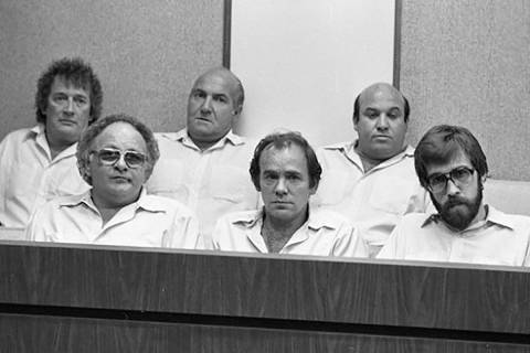 Hole in the Wall Gang, from left, Lawrence Neumann, Frank Cullotta, Joe Blasko, Leo Guardino, E ...