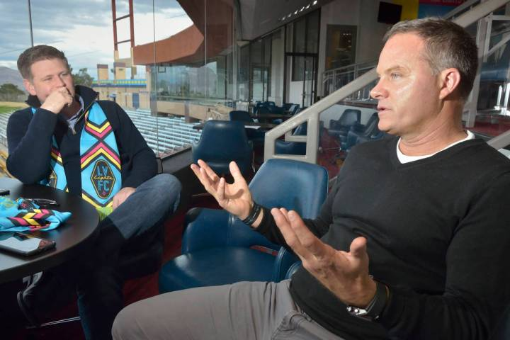 Las Vegas Lights FC owner Brett Lashbrook, left, and head coach Eric Wynalda are shown during a ...