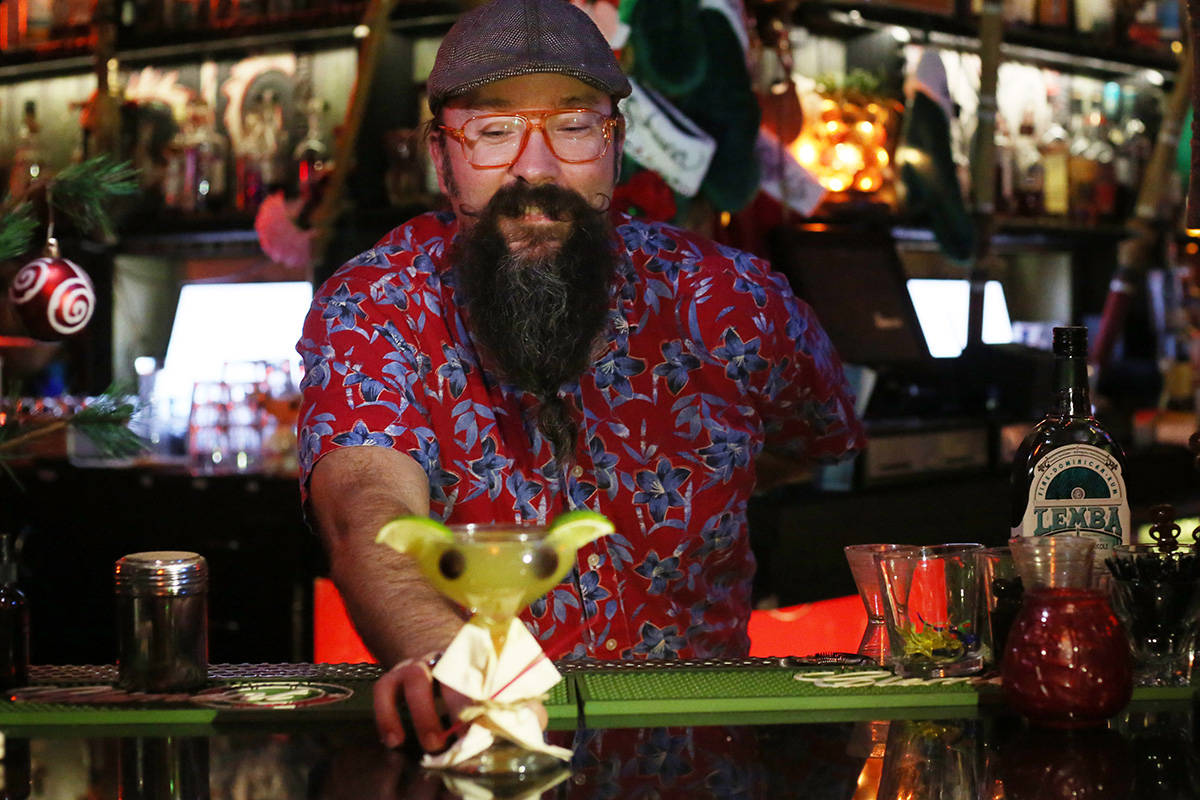 The Baby Yoda cocktail at the Golden Tiki in Las Vegas on Monday, Dec. 23, 2019. Elizabeth Page ...