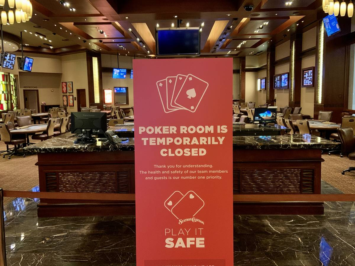 The Red Rock Resort poker room was closed Monday but is set to reopen Aug. 3. (Jim Barnes/Las V ...