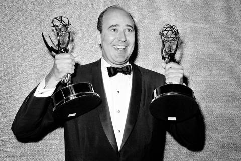 In this May 26, 1963 file photo, Carl Reiner shows holds two Emmy statuettes presented to him a ...