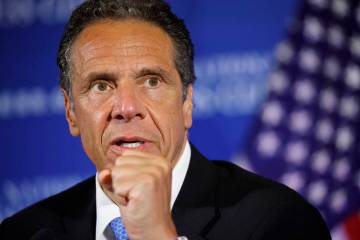 In this May 27, 2020, file photo, New York Gov. Andrew Cuomo speaks during a news conference at ...