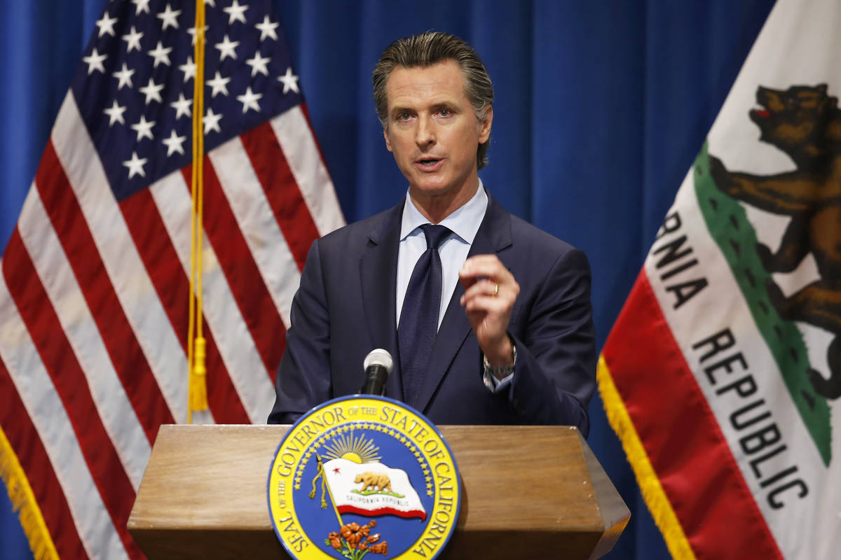 FILE - In this Thursday, May 14, 2020, file photo California Gov. Gavin Newsom discusses his re ...