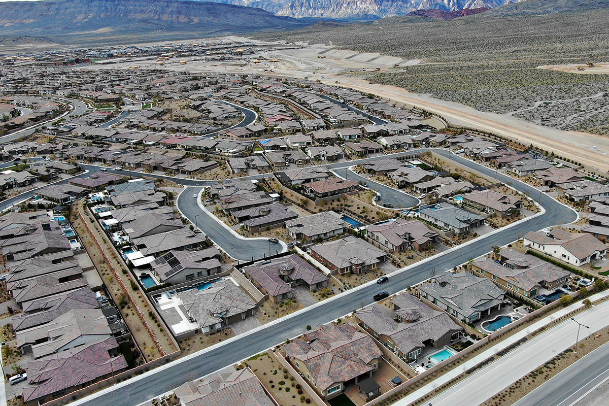 Aerial view of Summerlin homes near the end of Far Hills Avenue in Summerlin. (Michael Quine/La ...