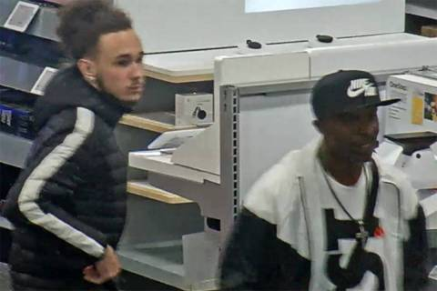 Police are looking for two men in connection to a robbery Tuesday, March 10, 2020, at a busines ...
