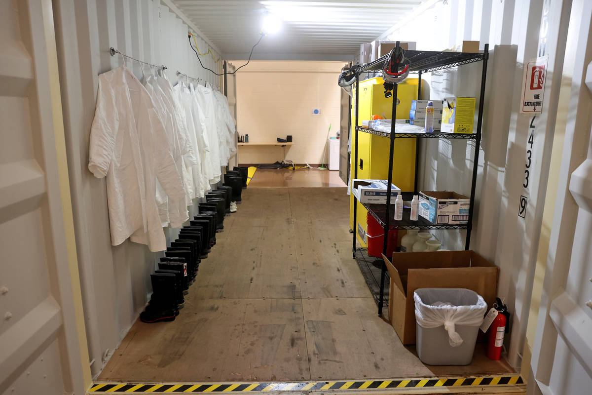 A container at the Battelle Critical Care Decontamination System site at the Army National Guar ...