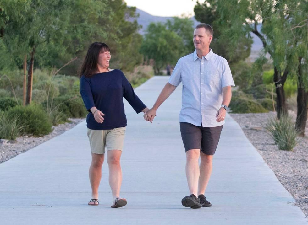 Yong Dawson and her husband Greg walk at Vivadi Park on Saturday, June 27, 2020, in Henderson. ...