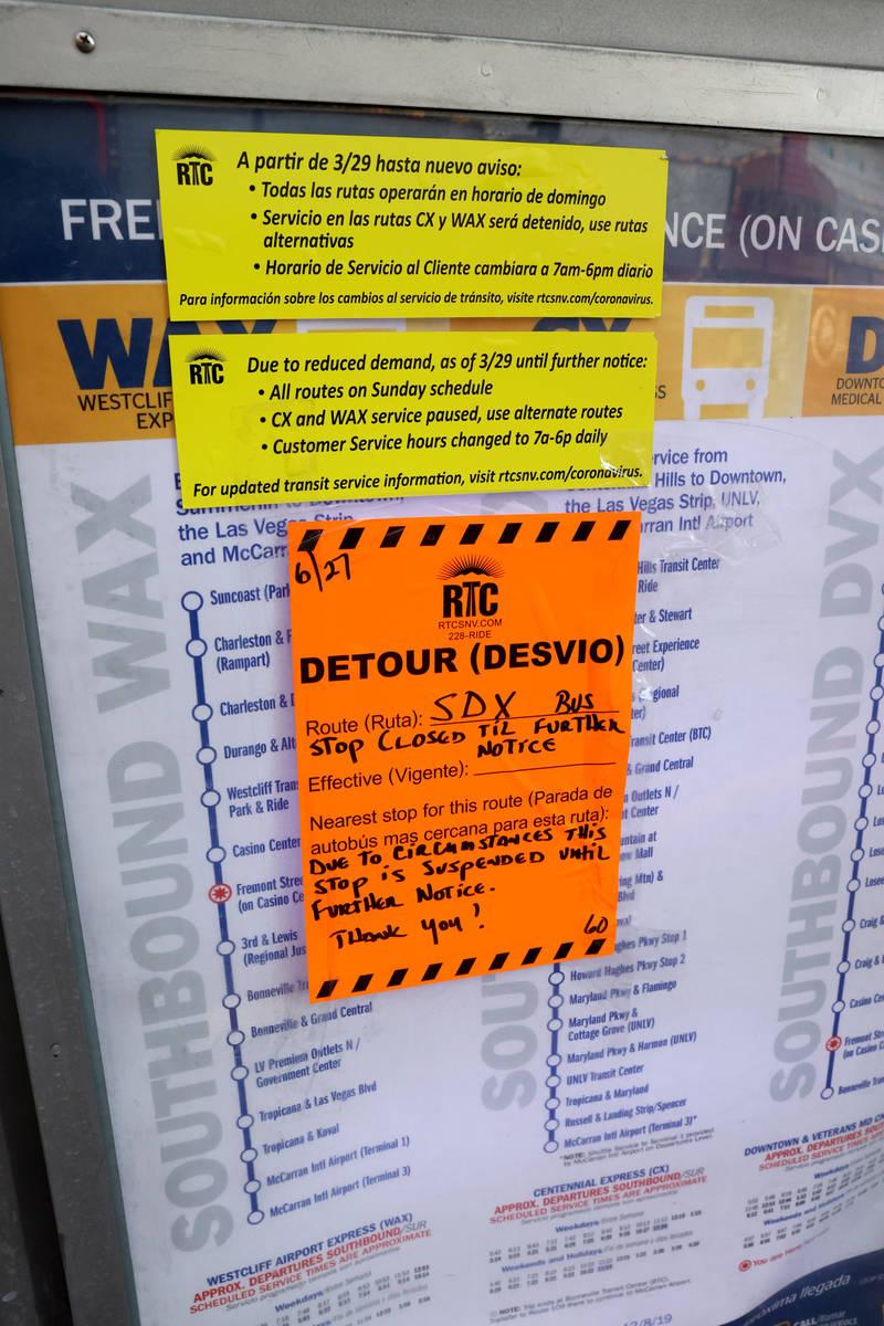 Regional Transportation Commission bus information at a stop on Casino Center Boulevard at Frem ...