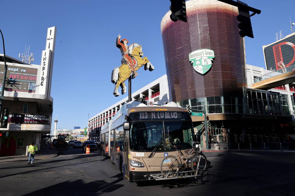 A Regional Transportation Commission bus on Las Vegas Boulevard at Fremont Street downtown Thur ...