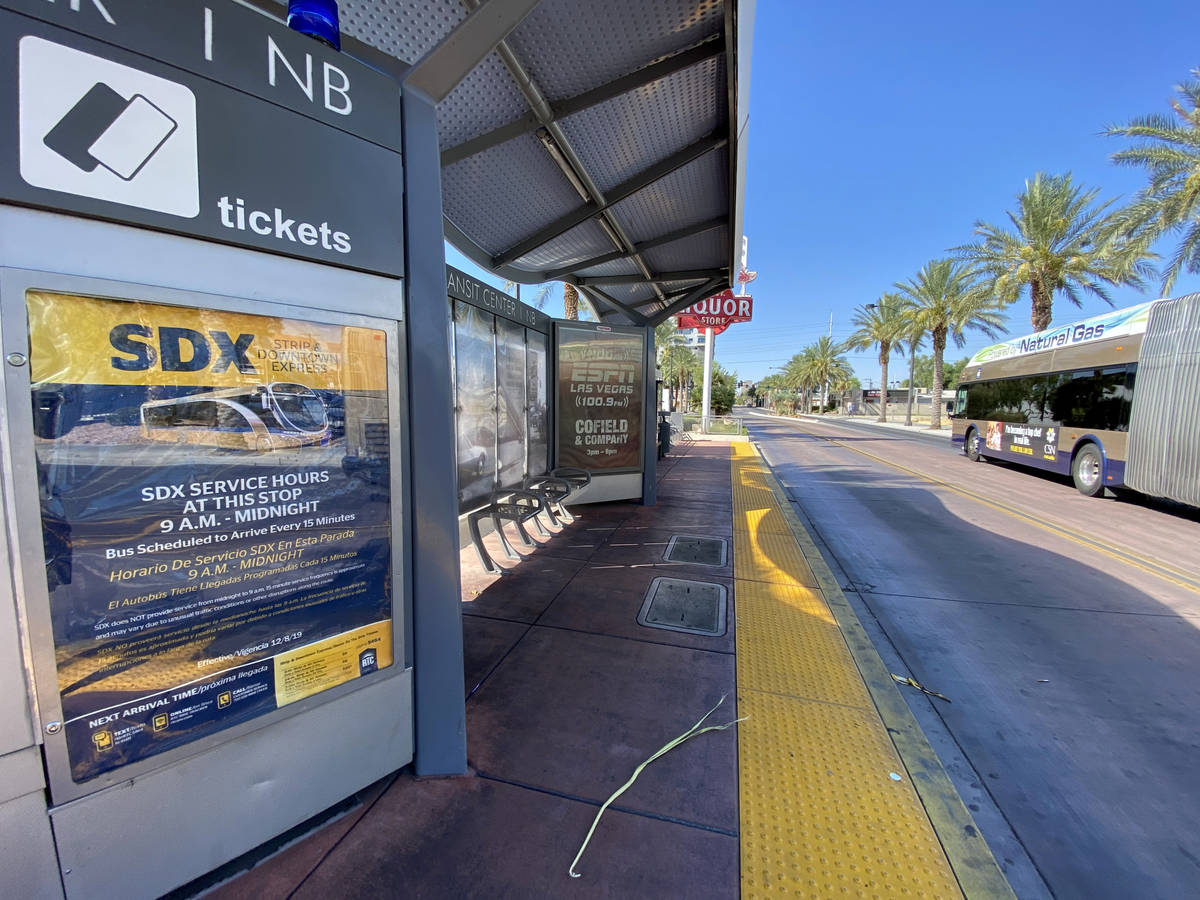 A Regional Transportation Commission bus stop on Casino Center Boulevard at Garces Avenue in do ...
