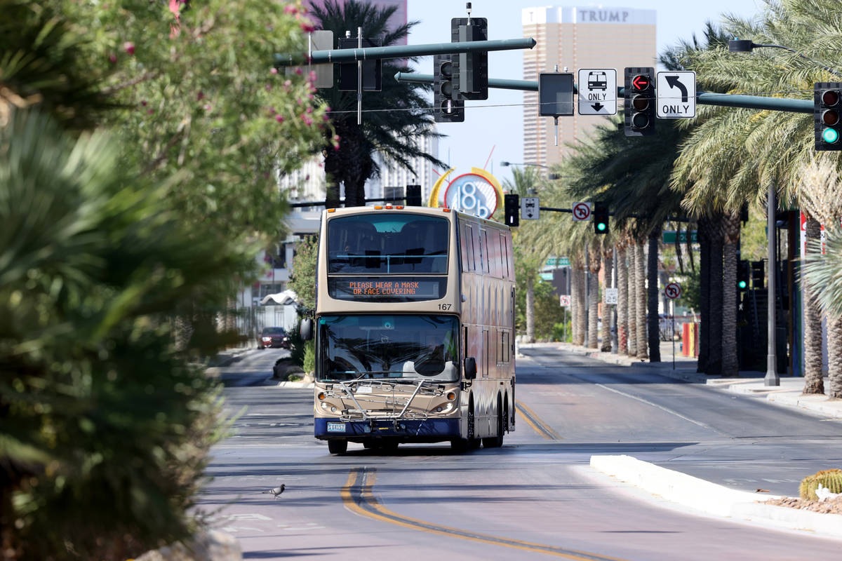 A Regional Transportation Commission bus makes its way up Casino Center Boulevard at Gass Avenu ...