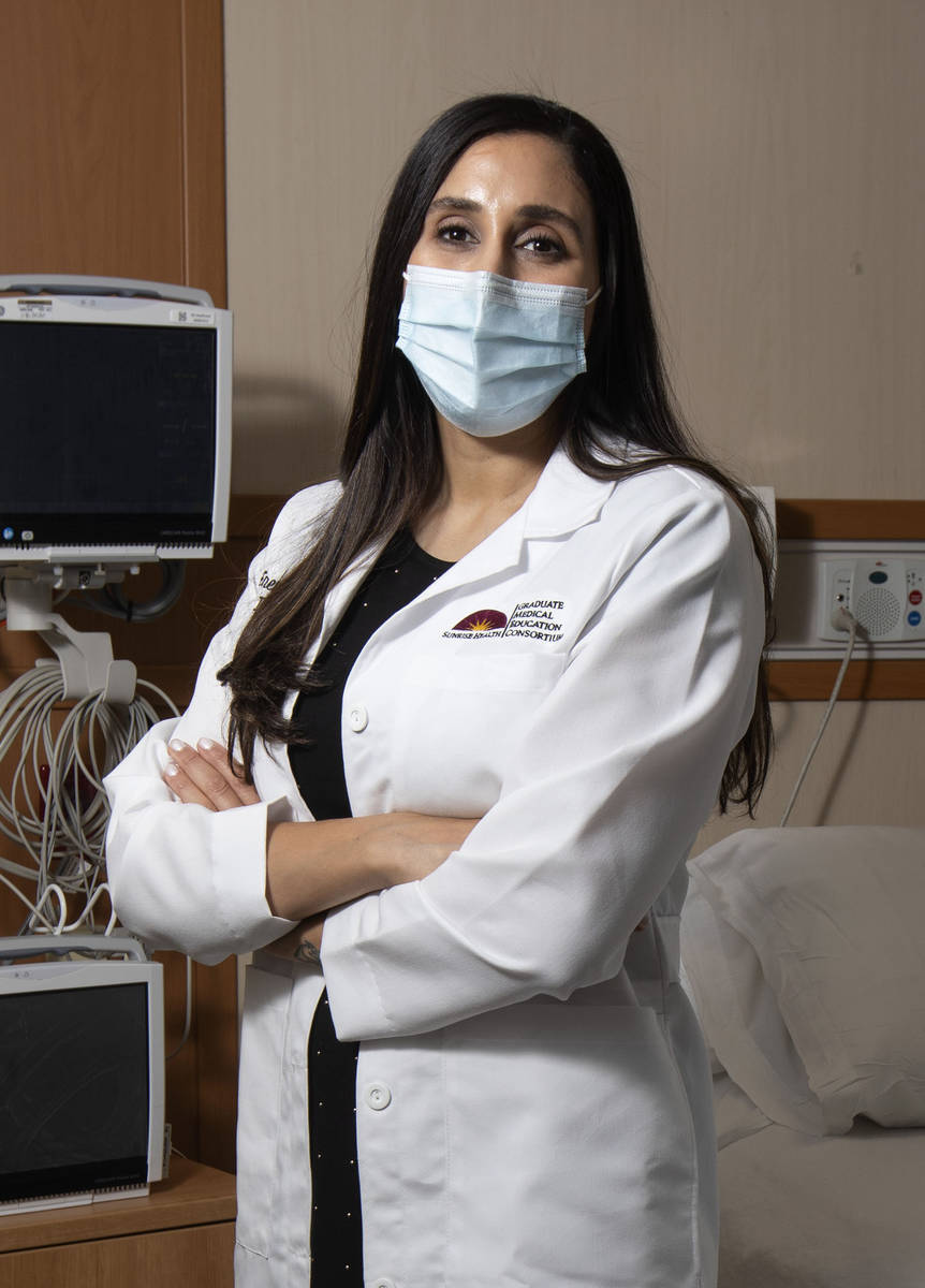 Dr. Erene Abdelmeseeh stands for a portrait in a patient room at Mountain View Hospital, where ...