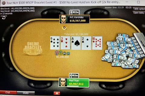 Players with the screen names Art.Vandelay and MadTitan battle heads-up to win Event 1 of the W ...