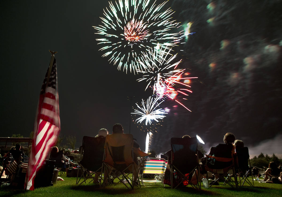 FILE - In this July 4, 2013, file photo, people watch as fireworks explode overhead during the ...