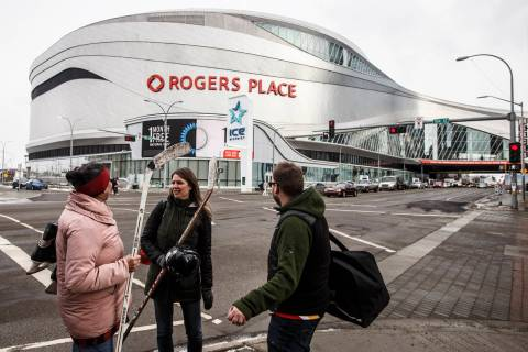 Rogers Place in Edmonton, Alberta. March 12, 2020. (Jason Franson/The Canadian Press via AP, File)