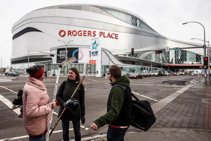 Rogers Place in Edmonton, Alberta. March 12, 2020. (Jason Franson/The Canadian Press via AP, File)