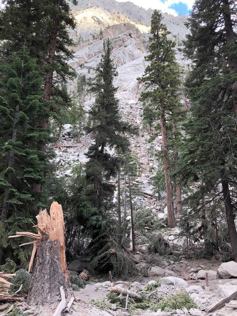 A 20 ft boulder descended 700 ft into a Whitney Portal campground during an earthquake in Owens ...