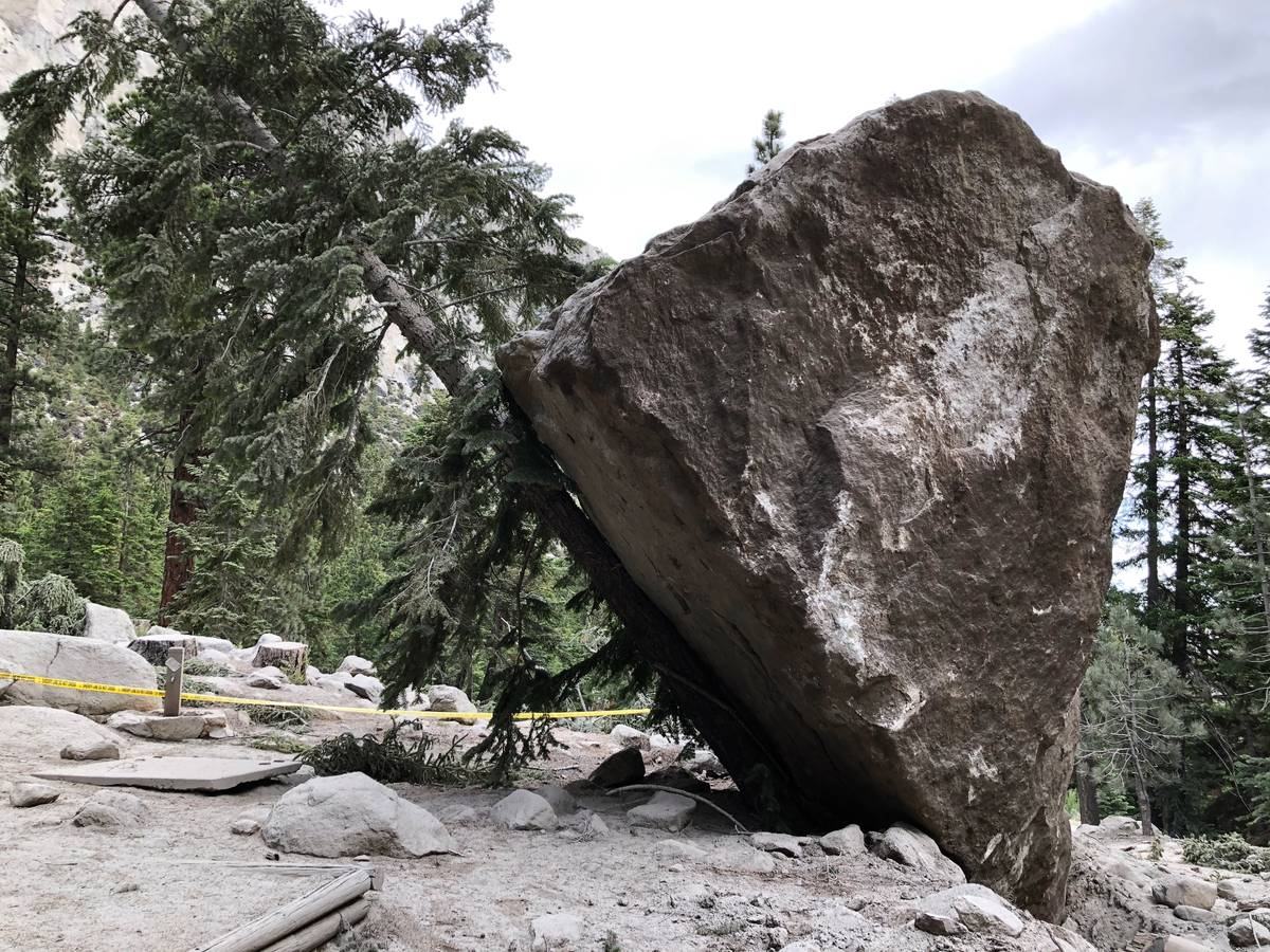 A nearly 20 ft diameter boulder launched into a Whitney Portal campground during an earthquake ...