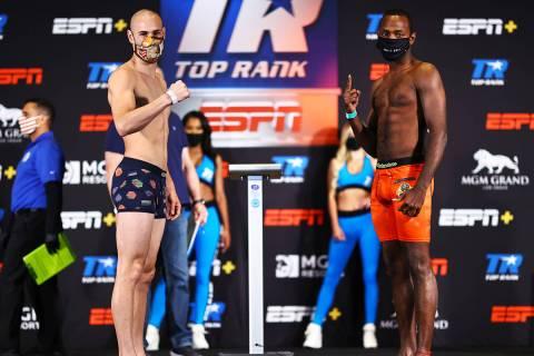 Jose Pedraza (26-3, 13 KOs), left, and Mikkel LesPierre (22-1, 10 KOs), junior welterweights, w ...