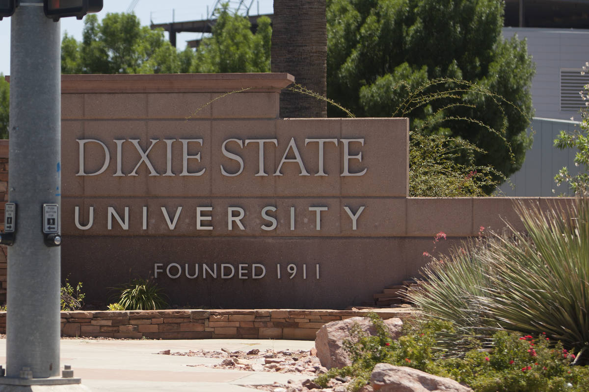 A sign stands at Dixie State University on Tuesday, June 30, 2020, in St. George, Utah. After y ...