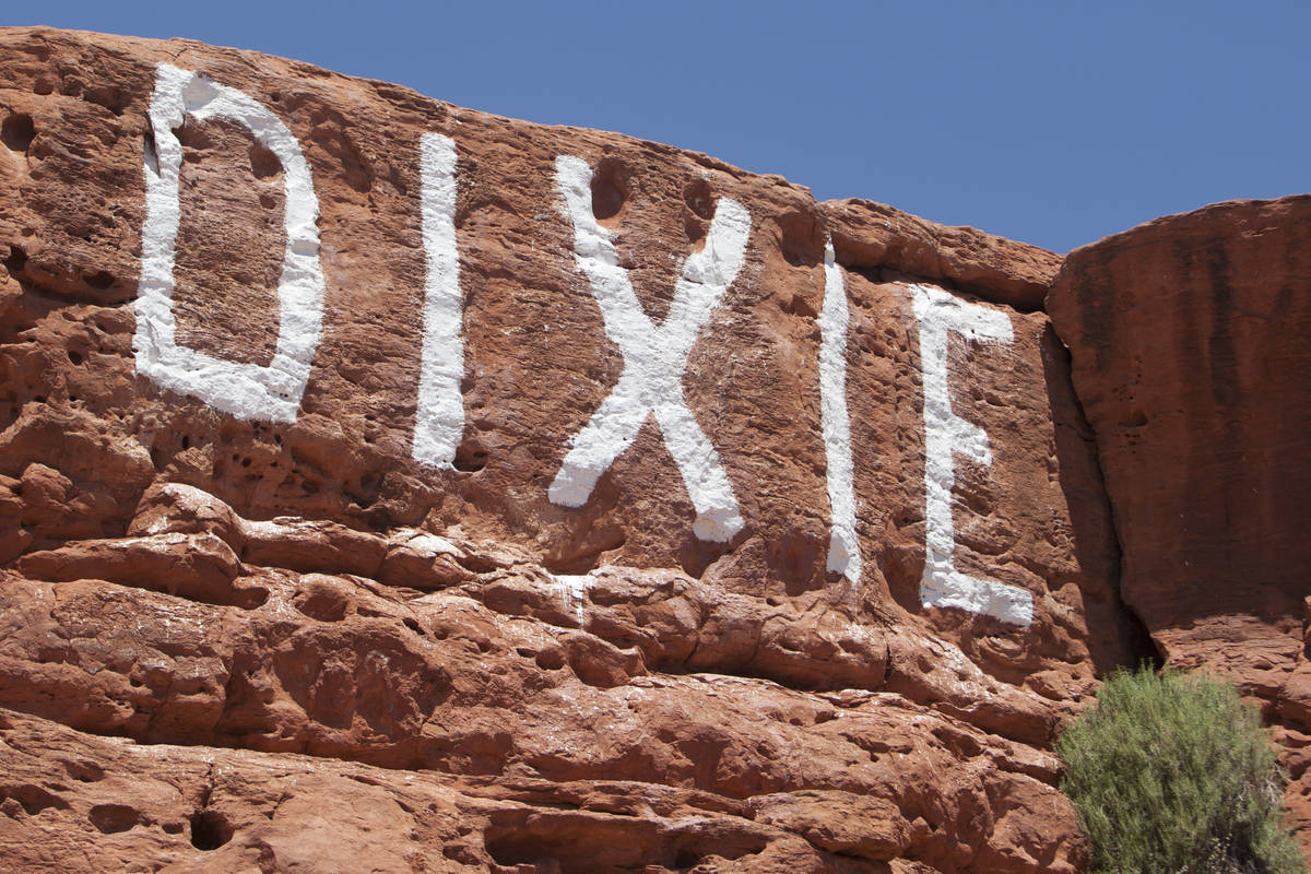 """DIXIE"" is painted on the Sugarloaf sandstone rock formation Tuesday, June 30, 2020, ..."